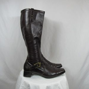 Paul Green Brown Tall Leather Pull On Boots